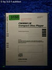Sony Bedienungsanleitung CDX F5700 CD Player (#3150)