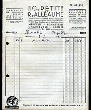 """CHATELLERAULT (86) MERCERIE BONNETERIE CHAUSSURES """"G. PETIT & R. ALLEAUME"""" 1956"""