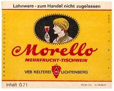 LICHTENBERG  VEB Kelterei DDR Morelllo Etikett Mehrfrucht-Tischwein