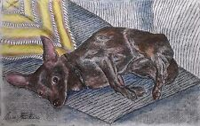 Chocolate Chihuahua - small, art reproduction, artist, ink, realism, animals