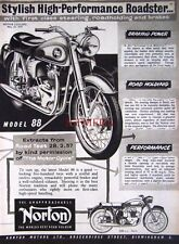 1957 NORTON 'Model 88' Motor Cycle AD - Vintage Original Print ADVERT