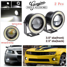 "3"" HIGH POWER LED PROJECTOR FOG LIGHT COB WITH WHITE ANGEL EYE RING 15W SET OF 2"