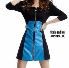 au womens black blue leather skater dress size 10 new