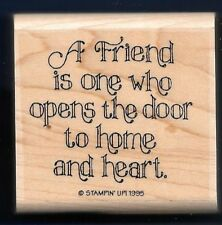FRIEND OPENS DOOR to Home and Heart CARD WORD NEW Stampin' Up! 1995 RUBBER STAMP