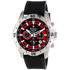 NEW Bulova Men's 96B186 Marine Star Chronograph Black & Red Dial Rubber Strap