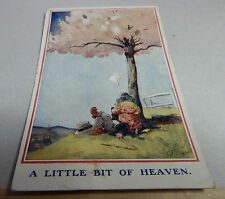 Vintage T Gilson little bit of Heaven card two children relaxing under tree B2