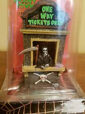 NIB Lemax Spooky Town Railroad ticket booth one way only grim reaper