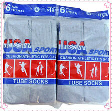 12 Pairs GRAY New Men's Cotton Athletic U.S.A. Sport Tube Socks 9-15 Made In USA