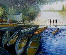 Claude Monet Bathers at Grenouillere Repro. Hand Painted Oil Painting 20x24in