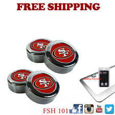 New NFL San Francisco 49ers Chrome License Plate Frame Screw Caps / Bolt Cover