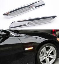 Amber LED Side Marker Lights For BMW E60 E61 E82 E83 E87 E88 E90 E91 Chrome Trim