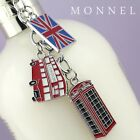 Z148 Cute England London Bus Flag & Phone Box Charms Keychain