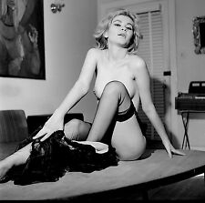 1960s Nude Blonde in black stocking posing on coffee table  8 x 8 Photograph