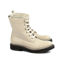 Brunello Cucinelli Women's White Leather Combat Boots 41 US 11 NEW BCWS 252