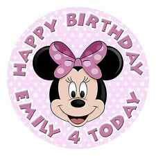 MINNIE MOUSE PERSONALISED EDIBLE *REAL ICING* IMAGE PARTY CAKE TOPPER ROUND