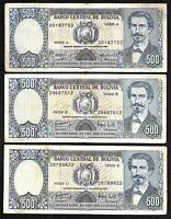 Bolivia Paper Money - Set/3 Diff 500 Pesos Bolivianos - D1981 - P165/P166 - F/VF