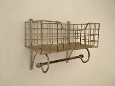 Wire Shelf And Rail Unit Kitchen Wall Rack Vintage Storage Industrial Organiser