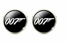 925 Silver Plated James Bond 007 Cufflinks Quality Round cuff links UK Seller
