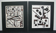 Pair Modern Abstract paintings by Dorothy Schiller, listed Indiana Artist