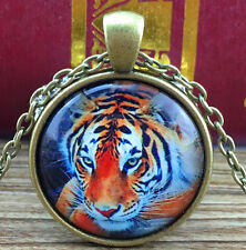 Vintage Tiger Cabochon bronze Glass Chain Pendant Necklace #373