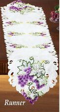 Deluxe Purple Grapes Table Runner Doily 68 x 13 Embroidered Machine Wash NEW