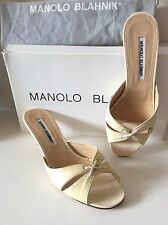 $3.5K MANOLO BLAHNIK ALLIGATOR CROCODILE BONE MULES SHOES 36.5