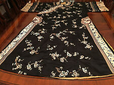 A Rare Chinese Qing Dynasty Black Ground Embroidered Floral Silk Robe.