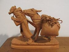 "Vintage Grasso Italy Terracotta Pottery Man Pulling Donkey 5 1/2"" Tall"