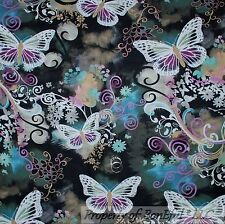 BonEful FABRIC FQ Cotton Quilt B&W Purple Gray Butterfly Flower Gothic Scroll US