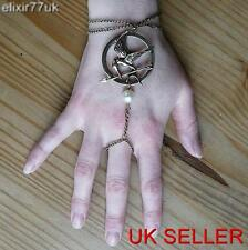 NEW BIRD & ARROW BADGE FAUX PEARL RING CHAIN BRACELET EMO PUNK GOTH VINTAGE GIFT