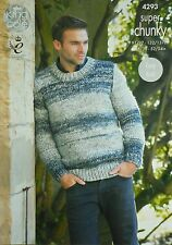 KNITTING PATTERN Mens Long Sleeve Round Neck Jumper EASY KNIT Super Chunky 4293