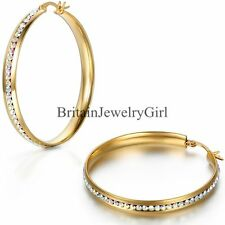 1 Pair Stainless Steel Colorful Rhinestones Hoop Earrings Women Fashion Jewelry