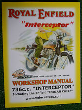 Royal Enfield Factory Workshop Manual 736cc Interceptor Inc' Indian Chief '63-70