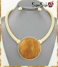 Chunky Brown Wood Pendant Circle Snake Chain Statement Necklace Omega Choker
