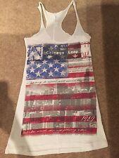 Taille 8 à bretelles longue femme blanc avec drapeau américain imprimer design