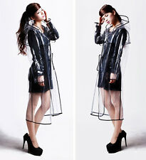 100CM Women's Girls Men Black Vinyl Transparent Raincoat Runway Clear Rain Coat