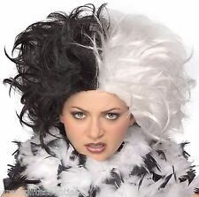 Cruella de Vil WIG Black & White Ms. Spot Hair Adult Deville 101 Dalmations NEW