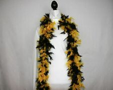 BLACK and YELLOW GOLD FEATHER BOA - 6 FEET - 60 GRAMS - NFL, NHL Lowest Price