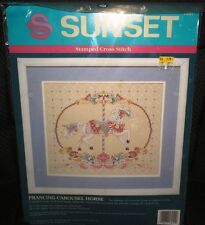 1992 Sunset Prancing Carousel Horse Stamped Cross Stitch Kit 13051 New Unopened