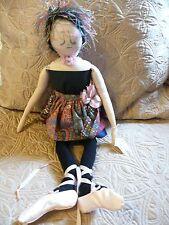 RAG DOLL HANDMADE CLOTH  BALLERINA DOLL GRACIE TWINKLETOES BY SALLY LAMPI