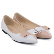 WOMENS FAUX LEATHER PATENT FLATS DOLLY BALLET PUMPS SWEET SHOES UK SIZE 2-9