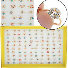 10pcs/set  Bulk Gold Plated Cute Kids/Children Party Crystal   Rings Wholesale