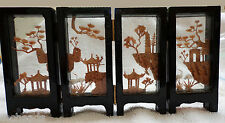 Vintage - Four Panel Balsa Wood & Cork Mini Screen with Black Lacquire Frame