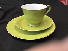 "Noritake ""Harlequin"" Trio in Lime Green Very Collectable"