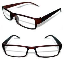 Men's Small Nerd Clear Lens Eye Glasses Graphic Geek rubber matte Dark Brown 407