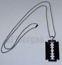 Large Razor Blade Pendant on a Dog Tag type 23 inch chain.