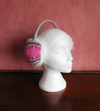 Snazzy Pink/Grey Furry Knitted Ear Muff Headband NWOT