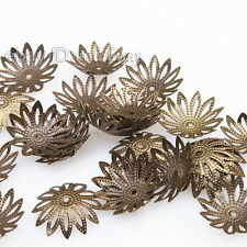 200pcs Charms Antique Bronze Flowers End Caps Beads Fit Jewelry Findings 161040