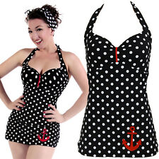 Polka Dot Sailor Anchor Pin up Rockabilly Swimsuit Badeanzug XL (42-44)