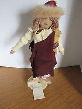 """Folk Art Handmade Cloth Doll 1991 16"""" Jill Krasner  African American Doll"""